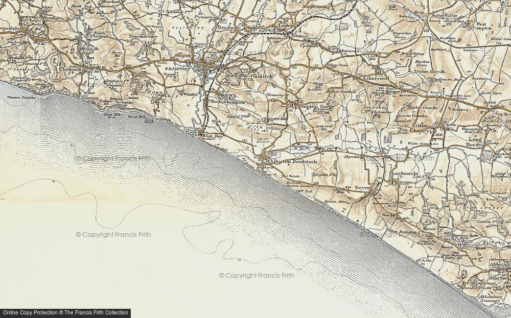 Old Map of Burton Bradstock, 1899 in 1899