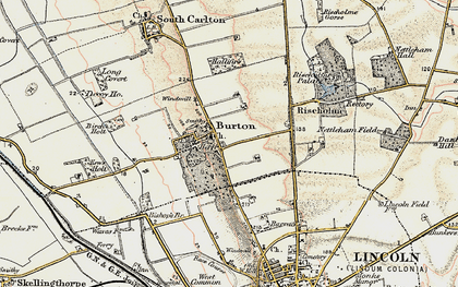 Old map of Burton-by-Lincoln in 1902-1903