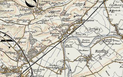 Old map of Burton Joyce in 1902-1903