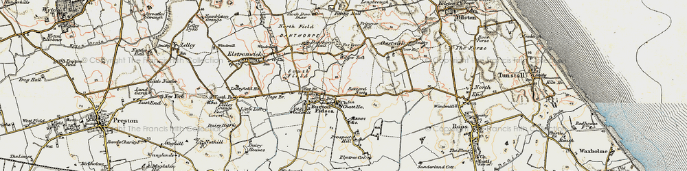 Old map of Willow Toft Fox Covert in 1903-1908