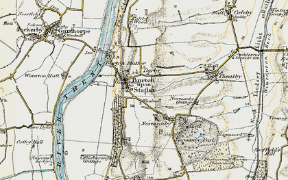 Old map of Burton upon Stather in 1903