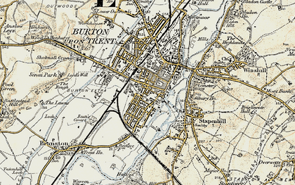 Old map of Burton upon Trent in 1902