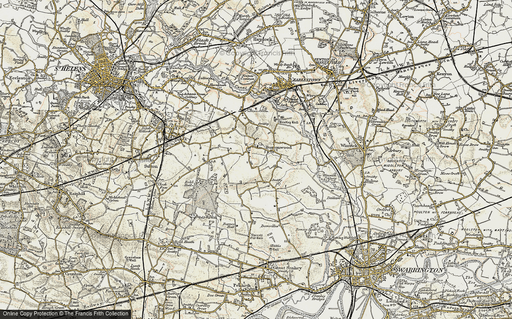 Old Map of Burtonwood, 1903 in 1903