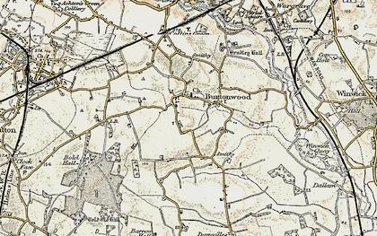 Old map of Burtonwood in 1903