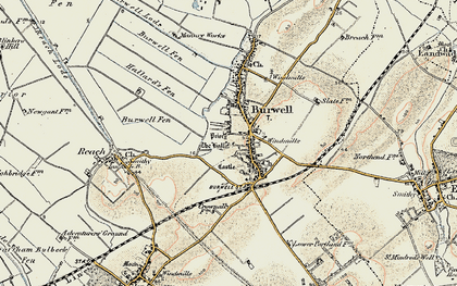 Old map of Burwell in 1901