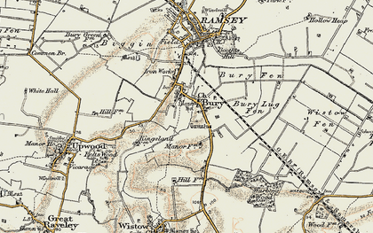 Old map of Wistow Fen in 1901