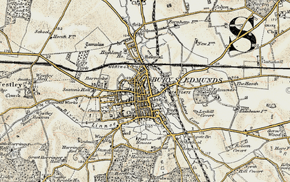 Old map of Bury St Edmunds in 1899-1901