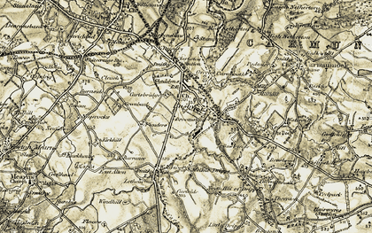 Old map of Busby in 1904-1905