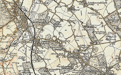 Old map of Bushey in 1897-1898