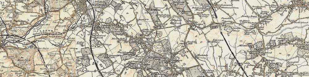 Old map of Bushey Heath in 1897-1898