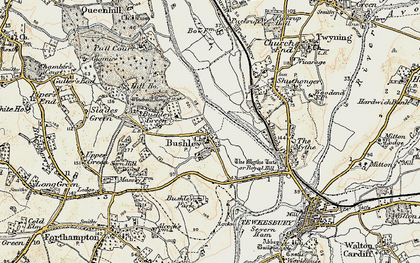 Old map of Bushley in 1899-1901