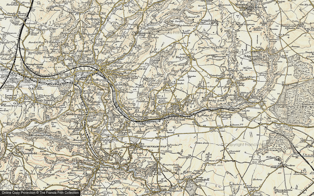 Old Map of Historic Map covering Toadsmoor Woods in 1898-1900