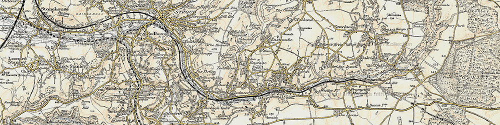 Old map of Toadsmoor Valley in 1898-1900