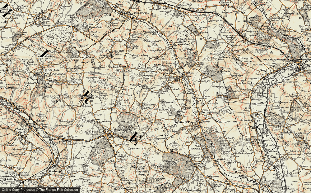 Old Map of Historic Map covering Austens in 1897-1898