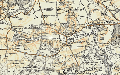 Old map of Butley in 1898-1901
