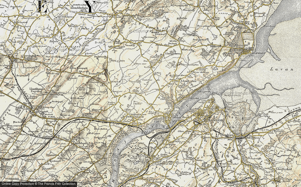 Old Map of Historic Map covering Y Dolydd in 1903-1910
