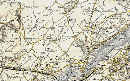 Old map of Y Dolydd in 1903-1910