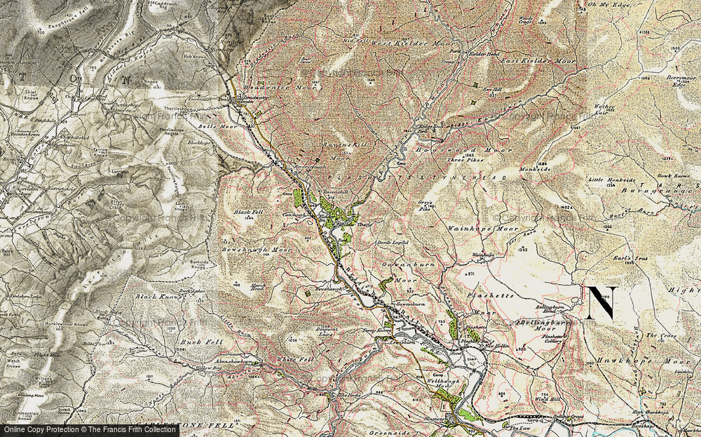 Old Map of Historic Map covering Bakethin Reservoir in 1901-1904