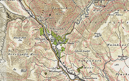 Old map of Bakethin Reservoir in 1901-1904