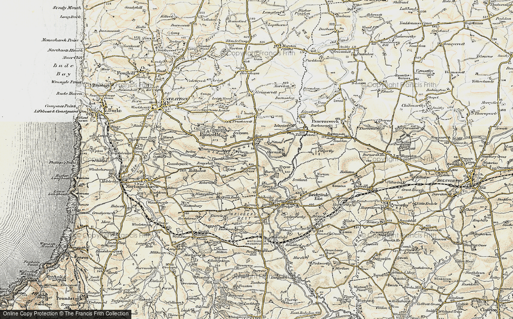 Old Map of Historic Map covering Thurlibeer in 1900
