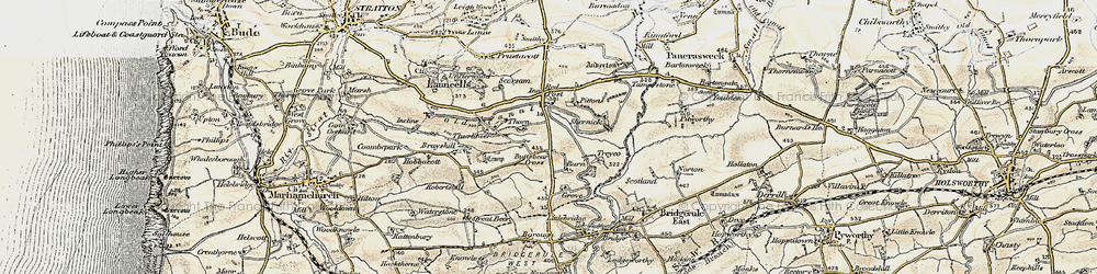 Old map of Thurlibeer in 1900