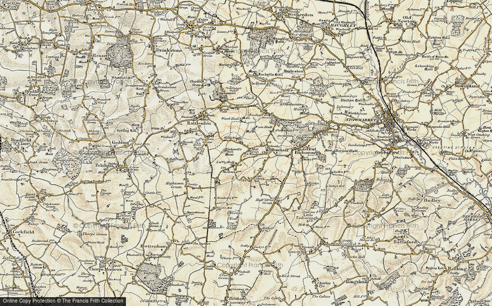 Old Map of Historic Map covering Wood Hall in 1899-1901
