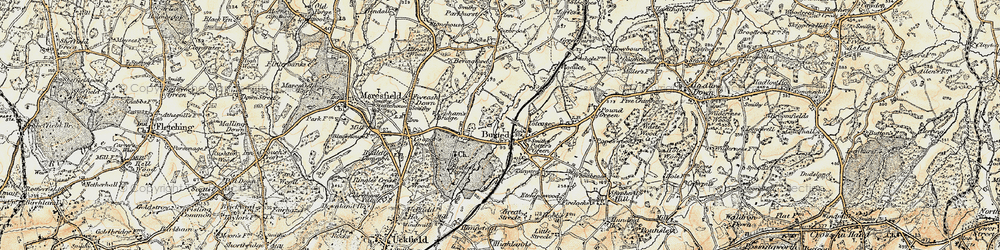 Old map of Buxted in 1898