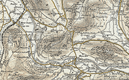 Old map of Bwlch in 1899-1901