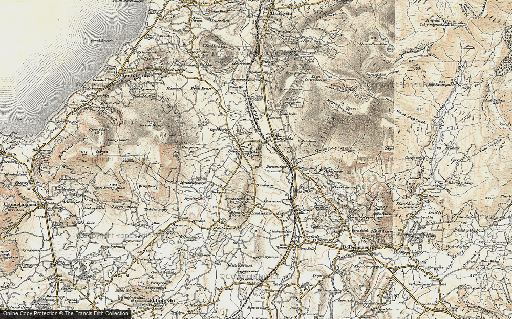 Old Map of Historic Map covering Ynys Hwfa in 1903
