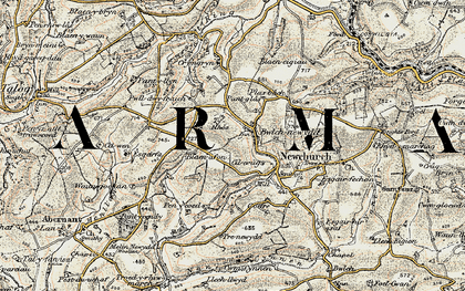 Old map of Bwlch-newydd in 1901