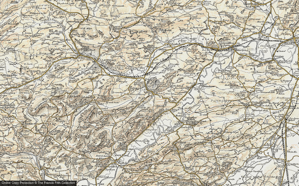 Old Map of Historic Map covering Afon Cain in 1902-1903