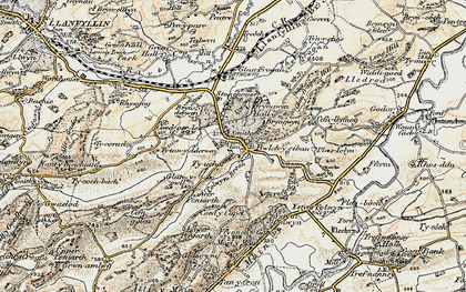 Old map of Afon Cain in 1902-1903