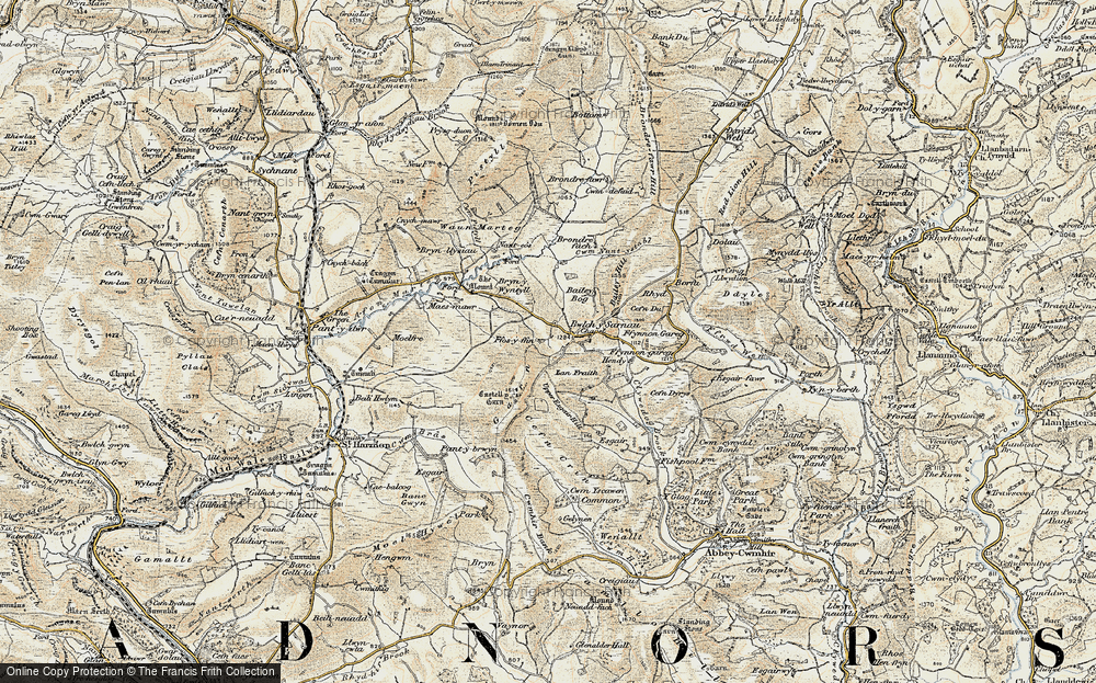 Old Map of Historic Map covering Bailey Bog in 1901-1903