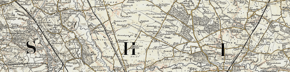 Old map of Yatehouse Green in 1902-1903