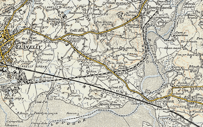 Old map of Bynea in 1900-1901