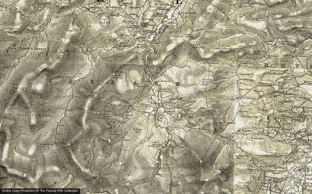 Old Map of Historic Map covering Auchmair in 1908-1910