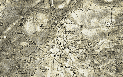 Old map of Cabrach in 1908-1910