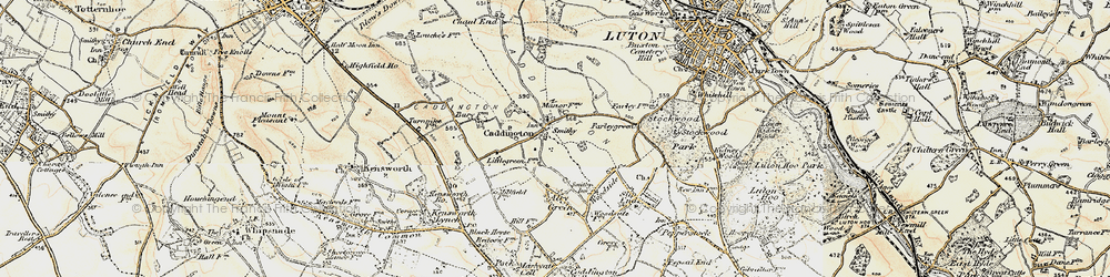 Old map of Caddington in 1898-1899