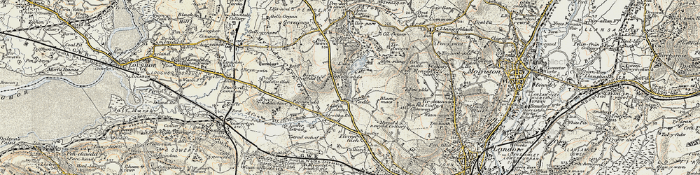 Old map of Cadle in 1900-1901