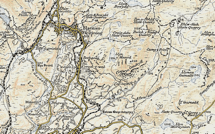 Old map of Afon Teigl in 1902-1903
