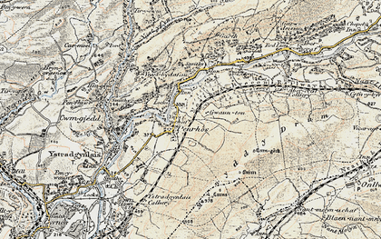 Old map of Cae'r-bont in 1900-1901