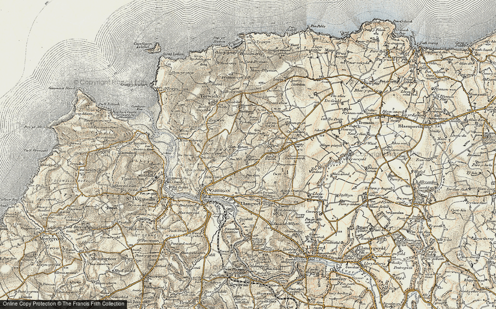Old Map of Historic Map covering Banc-y-Warren in 1901