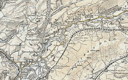 Old map of Caerbont in 1900-1901