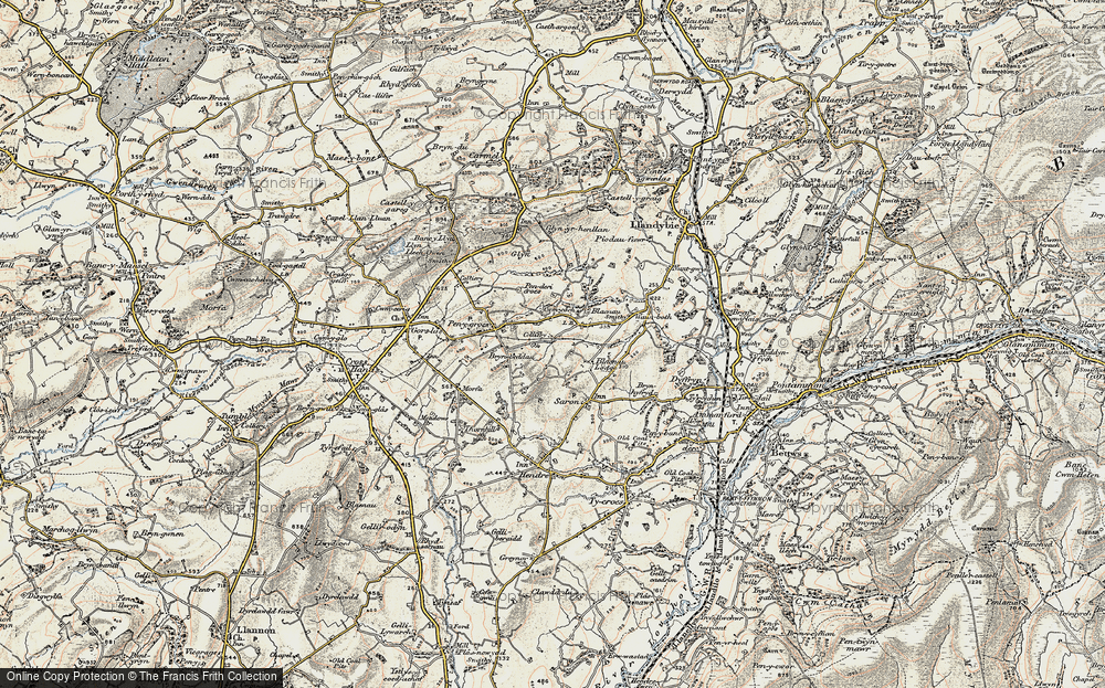 Old Map of Caerbryn, 1900-1901 in 1900-1901
