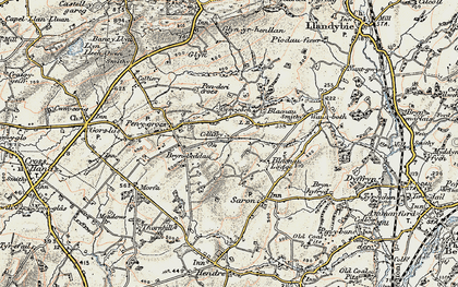 Old map of Caerbryn in 1900-1901