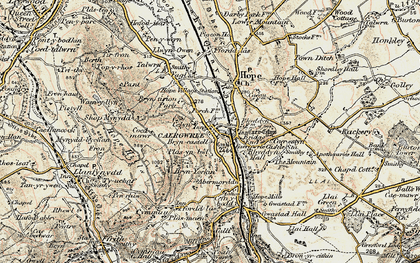 Old map of Caergwrle in 1902-1903