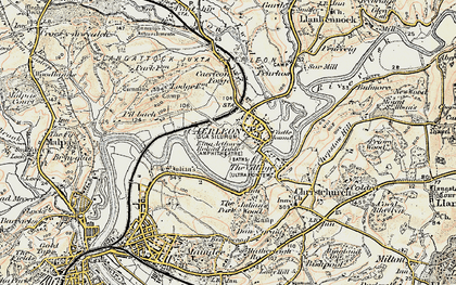 Old map of Caerleon in 1899-1900