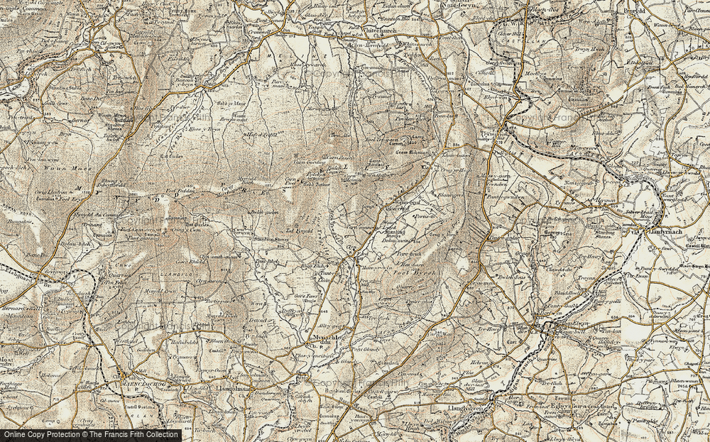 Old Map of Historic Map covering Afon Tewgyll in 1901