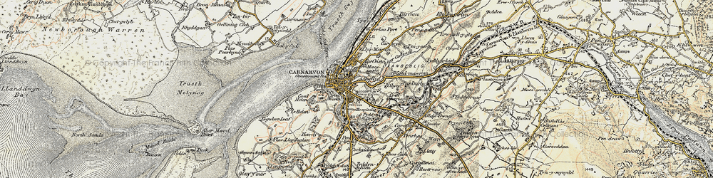 Old map of Caernarfon in 1903-1910