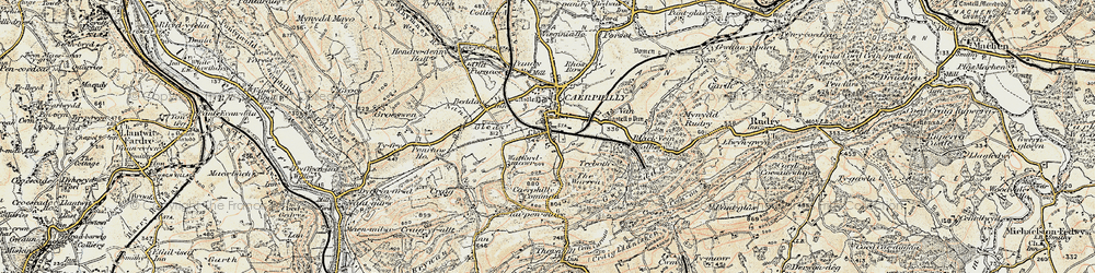 Old map of Caerphilly in 1899-1900